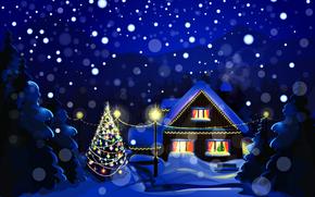 Новый Год, Рождество, праздник, природа, пейзаж, снег, зима, ночь, дома, елочные, елка, Новый год