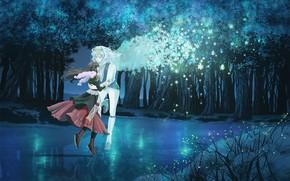 арт, парень, девушка, природа, озеро, крылья, деревья, светлячки, снежинки, пара, двое, шарф, лед, тиара, лес