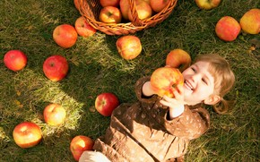 girl, small, child, children, basket, apples, grass, autumn