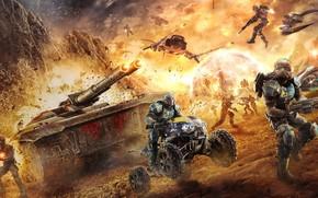 war, Soldiers, future, tank, ATV