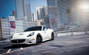 Ferrari, California, white, parking, building, window, highlight, Ferrari