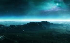 地球, 山, 缓解, 天空, 明星, Kameta