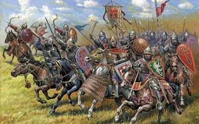 Russian cavalry brigade, warfare, on, Russia, were kept in touch with old traditions, Prince Svyatoslav and Vladimir. maintaining contacts with neighbors, States, on, border, created, excellent, original, army, The core of the cavalry were princes