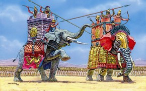 Army, Egypt, and, Carthage, converged on the battlefield, before the battle, each side put forward, combat, Elephant, a duel strongest, in the distance, Warriors, waiting for who would win the party, in the tower, Crew, submitted, Indian, elephant, of, Ar