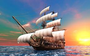 Brig, ship, sailing ship, Mast, sail, Bowsprit, ocean, dawn, sun, graphics, 3d