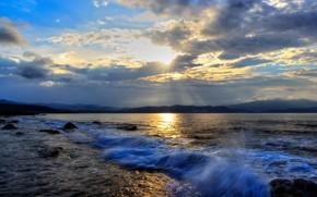 mar, puesta del sol, costa