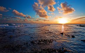 ocean, sunset, clouds