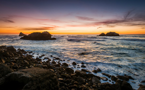 ocean, kamienie, zachd soca, Rocks