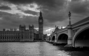London, England, Westminster Abbey, Thames, Big Ben, river, bridge