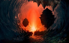 cave, light, fire, landscape, science fiction