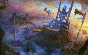 арт, город, скалы, летающий, облака, корабль, лучи, мосты