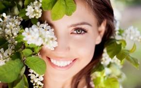 Mood, girl, brunette, face, smile, joy, eyes, view, laughter, positive, Flowers, flowers, leaves, nature, background, wallpaper