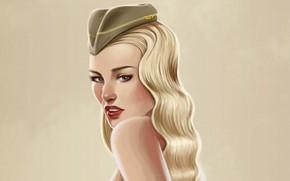 Девушка, рисунок, взгляд, пилотка, блондинка, головной убор, фон.