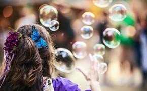 girl, hair, curls, Soap, Bubbles, Balls, Hairpins, butterfly