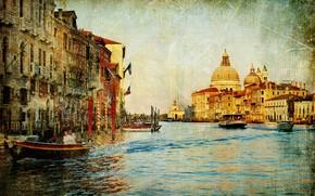 Annata, vecchia foto, Venezia, canale, Barche, casa