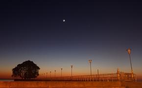 paesaggi, notte, luna, paesaggio