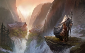 Art, Gandalf, The Hobbit, An unexpected journey, mage, staff, city, rocks, Mountains, canyon, waterfalls, Lord of the Rings, Bilbo