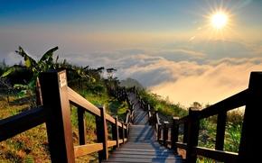 natura, sole, nuvole, skyscapes, paesaggi, scale, scala, sole, paesaggi, natura, nuvole