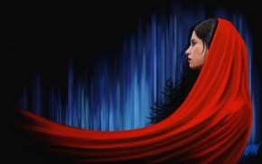 арт, девушка, профиль, красное, накидка, ткань