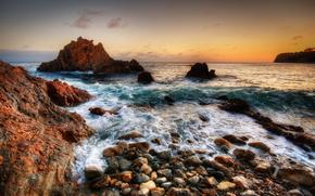 mare, paesaggio, pietre