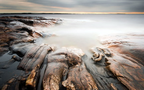 sea, landscape, stones