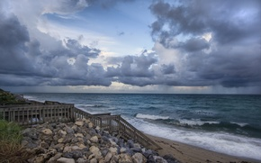 pictures, ocean, water, sea, landscapes, ladder, Beaches, ladder, sky, coast, Widescreen Wallpaper