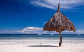 природа, пляж, океан, яхты, зонтик, солома, тень