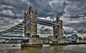 Лондон, london, Великобритания, united kingdom, Англия, england, Тауэрский мост, tower bridge, Темза, thames, река, river, облака, clouds