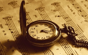 Vintage, music, Pocket Watch, sepia