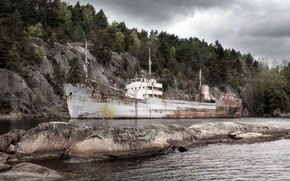 river, ship, landscape