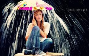ragazza, ombrello, pioggia, situazione