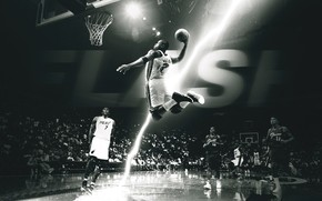 basketball, player, game, floor, Suspension, flight, black and white