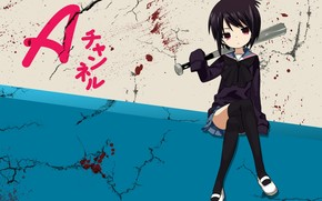 anime, Manga, girl, shkolnitsa, bat