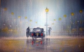 машина, дождь, фонари, свет, фары, человек, зонт