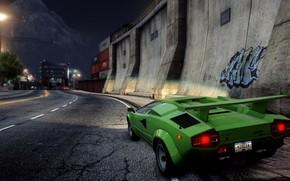 sports car, classic, city, night, foreshortening