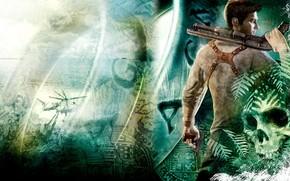 Arte, uomo, arma, cranio, elicottero, mappa