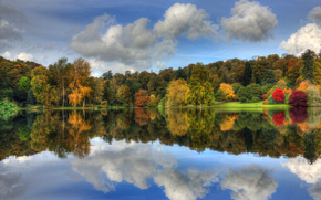 autumn, park, Trees, colorful, foliage, sky, clouds, lake, reflection