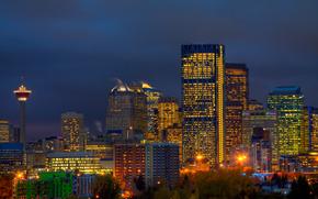 Канада, Калгари, провинция Альберта, город, здания, небоскребы, башня, деревья, фонари, огни, освещение, синее, небо, ночь