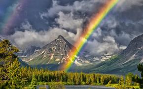 painted teepee peak, горы, озеро, пейзаж, радуга