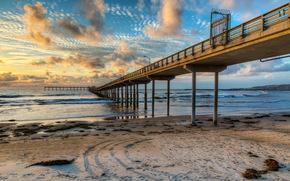 coast, USA, Piers (pier), sky, san diego, california, Clouds Beaches