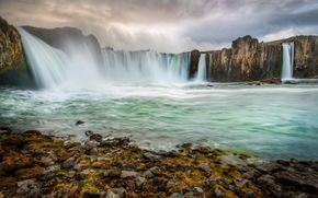 waterfall, Iceland, stones, of certain doom, Akureyri, moss