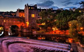 Regno Unito, Inghilterra, Pulteney Bridge bagno, notte