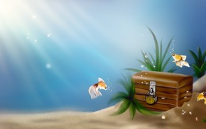 арт, под водой, море, рыбы, рыбки, золотые, сундук, клад, замок, пузырьки