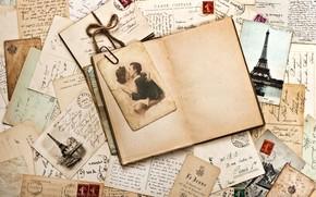 Vintage, Merchandise, letters, brand, Print, photograph, pair, sepia, Eiffel Tower