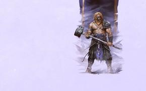 viking, hammer, dressing, beard, armor