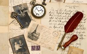 винтаж, письма, старая бумага, фотографии, сепия, перо, штемпель, часы, ключ