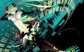 Art, girl, Vocaloid, Hatsune Miku, headphones, anime