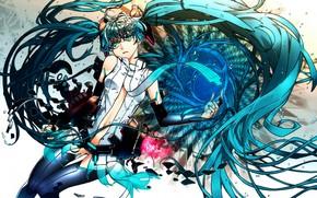 Art, Vocaloid, Hatsune Miku, girl, tie, Stockings, gloves, anime
