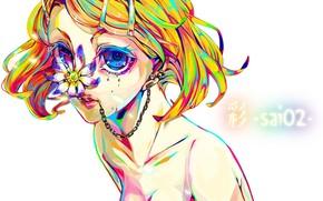арт, Вокалоид, девушка, бабочка, заколки, надпись, аниме, пирсинг, сережки, цепочка, слезы