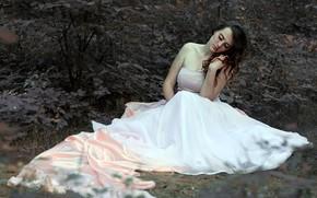 girl, brunette, dress, forest, shrubs